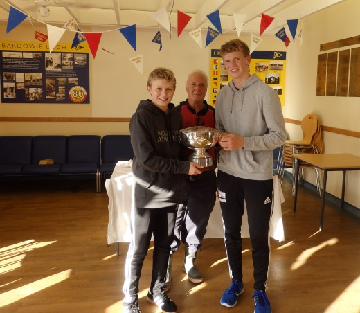 Laird Trophy winners 2016 - David Roset and Calum Roset (Hermitage Academy), with Hugh McLean club captain